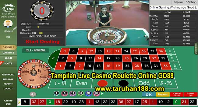 Tampilan Live Casino Roulette Online GD88 - CARA DAFTAR CASINO ONLINE GD88